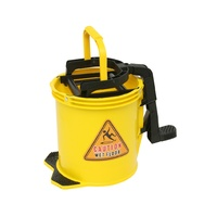 EDCO 16L Commercial Heavy Duty Cleaning Metal Wringer Mop Bucket - yellow