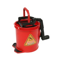 EDCO 16L Commercial Heavy Duty Metal Wringer Mop Bucket - Red