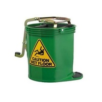EDCO 16L Commercial Heavy Duty Metal Wringer Mop Bucket - Green