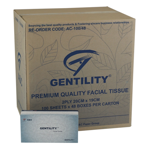 gentility Facial Tissue 100 Sheets 2ply